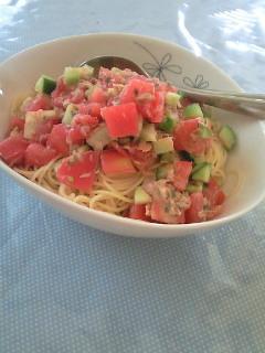 夏野菜でパスタ。